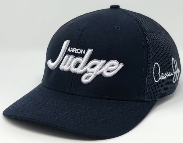Aaron Judge Script Hat - Navy Trucker