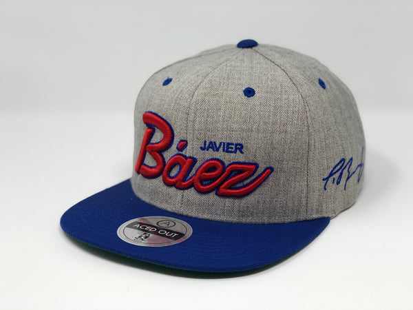 Javier Baez Script Hat - Grey/Royal Snapback