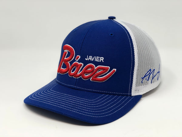 Javier Baez Script Hat - Royal/White Trucker