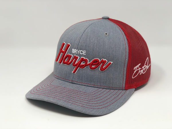 Bryce Harper Script Hat - Grey/Red Trucker