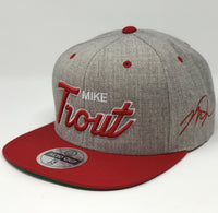 Mike Trout Script Hat - Grey/Red Snapback