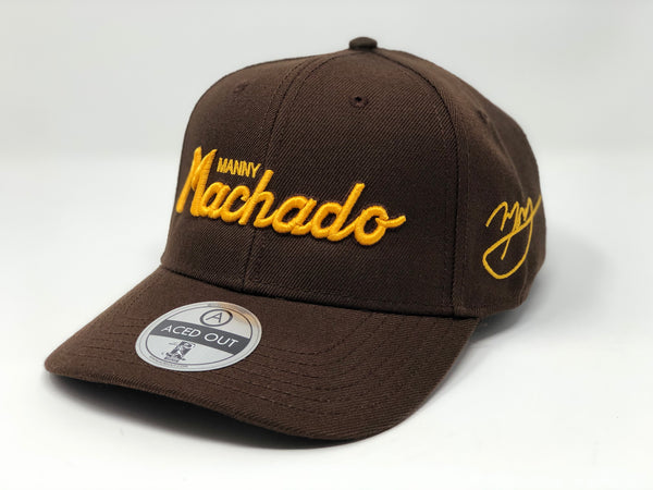 Manny Machado Script Hat - Brown Curved Snapback