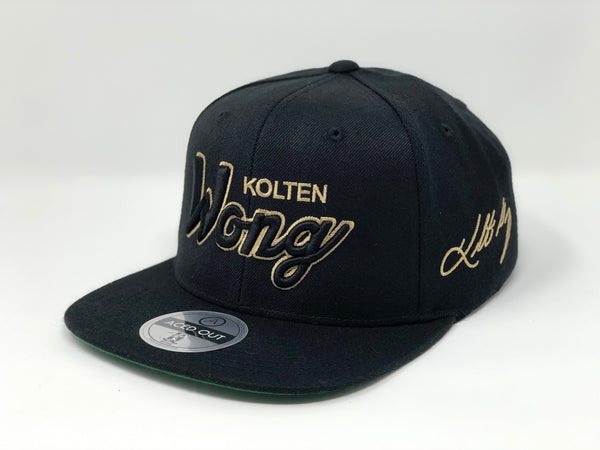 Kolten Wong Script Hat - Gold Glove Edition Black Snapback
