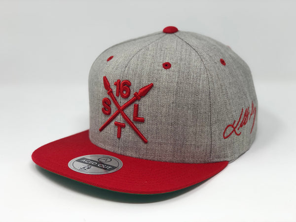 Kolten Wong 16 Compass Hat - Grey/Red Snapback
