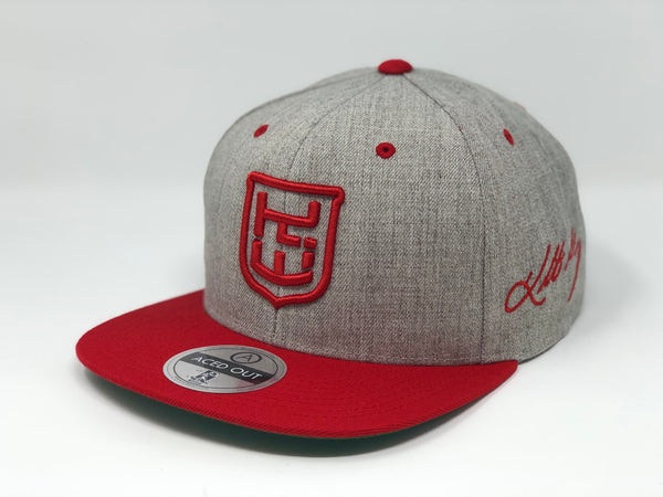 Kolten Wong Logo Hat - Grey/Red Snapback