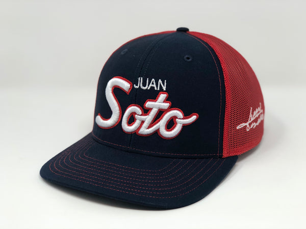 Juan Soto Script Hat - Navy/Red Trucker