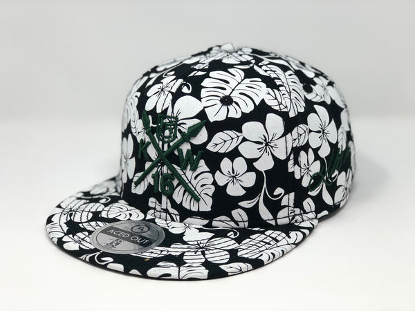 Kolten Wong KW16 Green Compass Hat - Black/White Aloha Snapback - Limited Edition of 16
