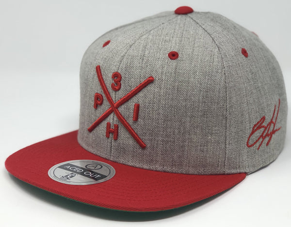 Bryce Harper Compass Hat - Grey/Red Snapback