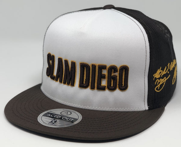 SLAM DIEGO - White/Brown Flatbill Trucker