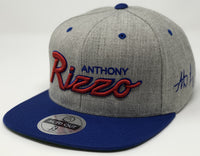Anthony Rizzo Script Hat - Grey/Royal Snapback