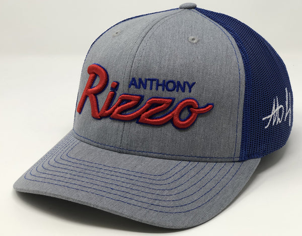 Anthony Rizzo Script Hat - Grey/Royal Trucker