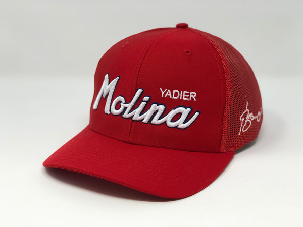 Yadier Molina Script Hat - Red Trucker