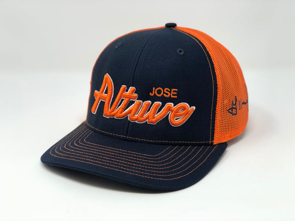 Jose Altuve Script Hat - Navy/Orange Trucker