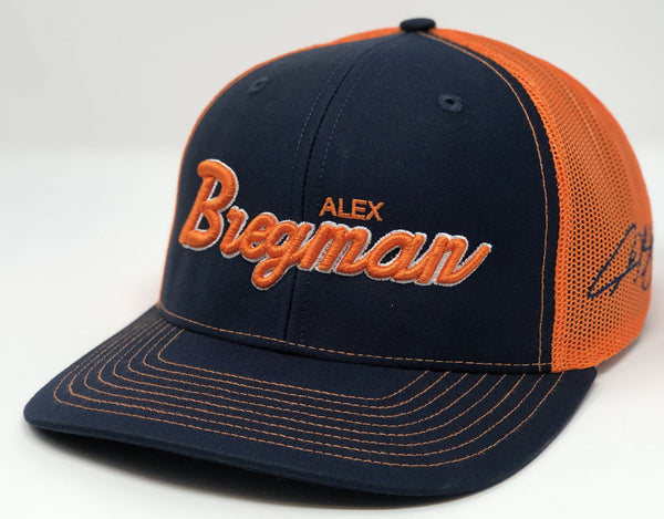 Alex Bregman Script Hat - Navy/Orange Trucker
