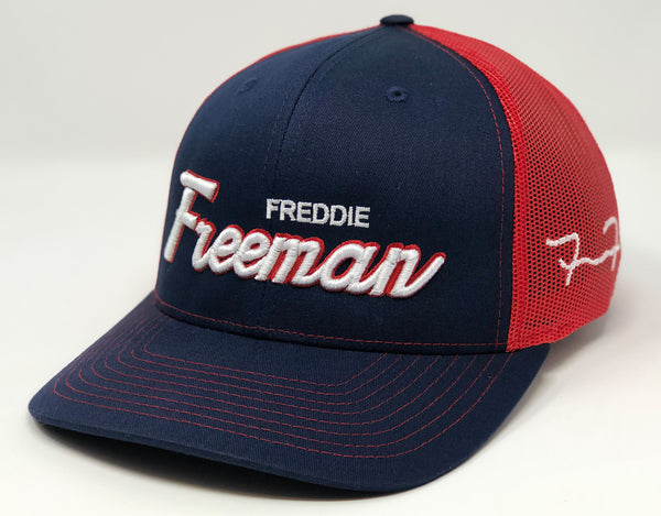 Freddie Freeman Script Hat - Navy/Red Trucker