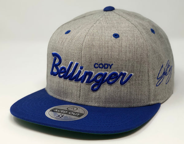 Cody Bellinger Script Hat - Grey/Royal Snapback
