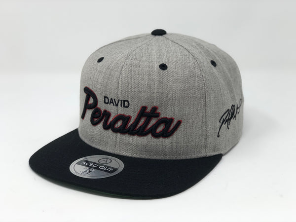 David Peralta Script Hat - Grey/Black Snapback
