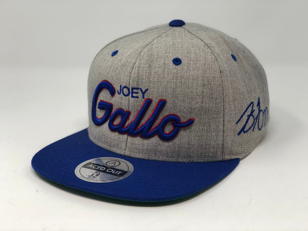 Joey Gallo Script Hat - Grey/Royal Snapback
