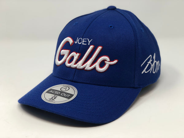 Joey Gallo Script Hat - Royal Curved Snapback