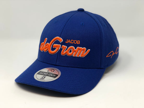 Jacob deGrom Script Hat - Royal Curved Snapback