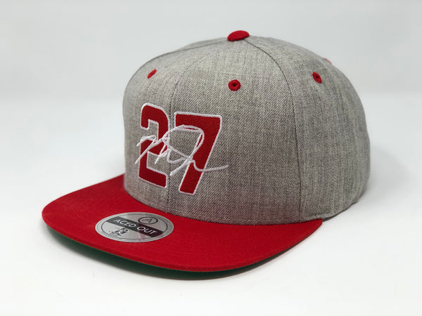 Mike Trout 27 Hat - Grey/Red Snapback