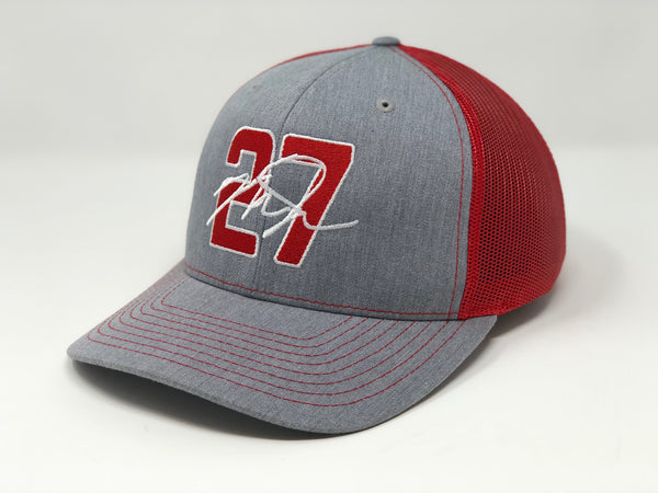 Mike Trout 27 Hat - Grey/Red Trucker