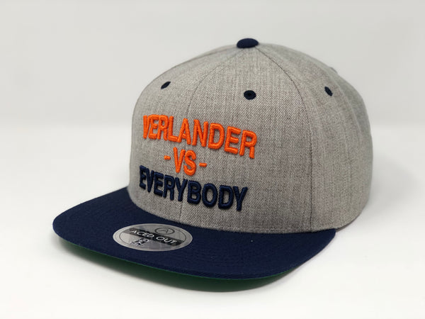 Justin Verlander vs EVERYBODY Hat - Grey/Navy Snapback
