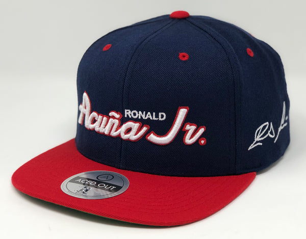 Ronald Acuna Jr Script Hat - Navy/Red Snapback
