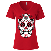 New Mexico Lobos Sugar Skull - Womens Vneck