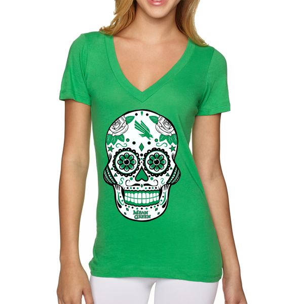 North Texas Mean Green Sugar Skull - Womens Vneck