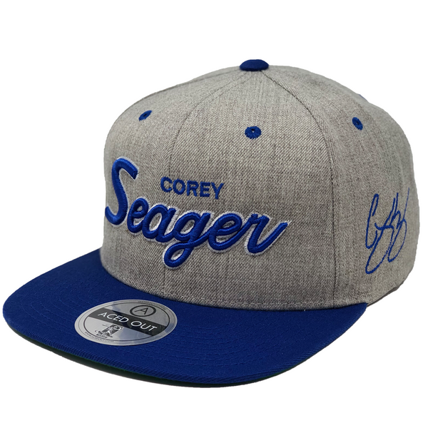 Corey Seager Script Hat - Grey/Royal Snapback