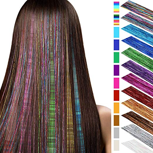 40 Inches Hair Tinsel Highlights Glitter Hair Extensions