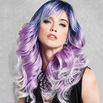 BLUE-PURPLE SYNTHETICS LACE FRONT LONG WIG
