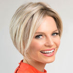 Gold Short Straight Synthetic Lace Front Wig