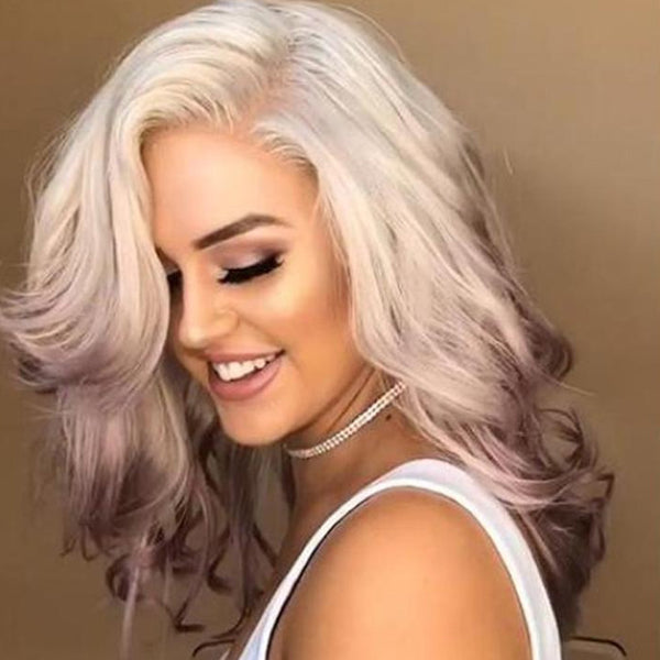 Beautiful white and pink wig-309
