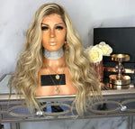 Silver Blonde long curly hair wig-305