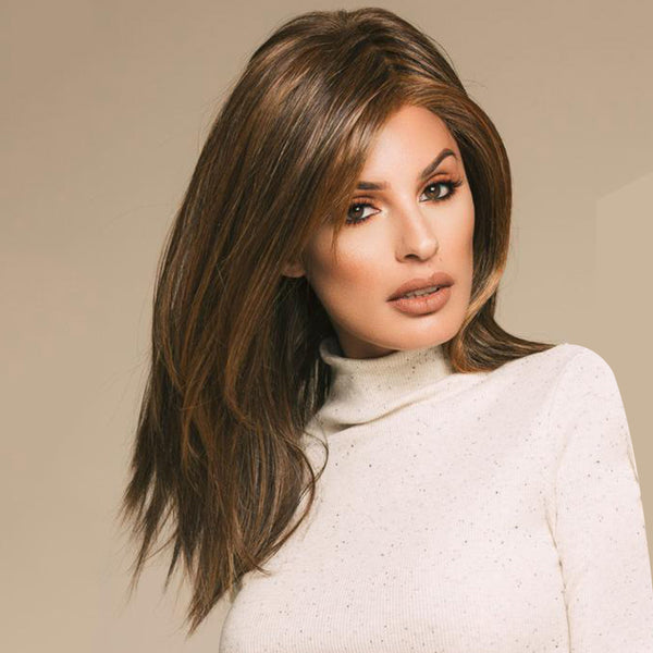 Brown Long Straight Synthetic Lace Front Wig