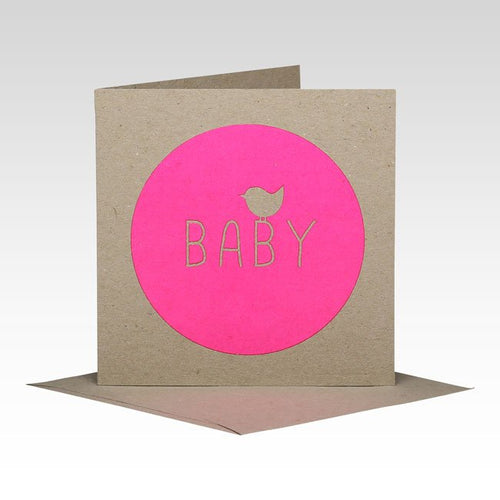 Pink Fluoro Baby Card
