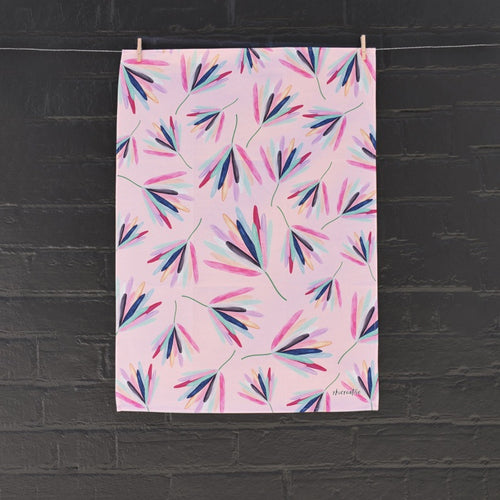 Coloured Protea Tea Towel