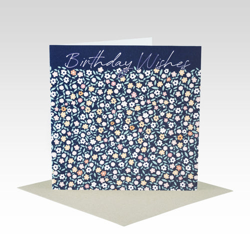 Navy Floral Happy Birthday - Gift Card