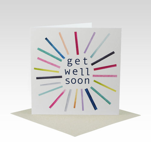 Coloured Stripes Get Well Soon Card