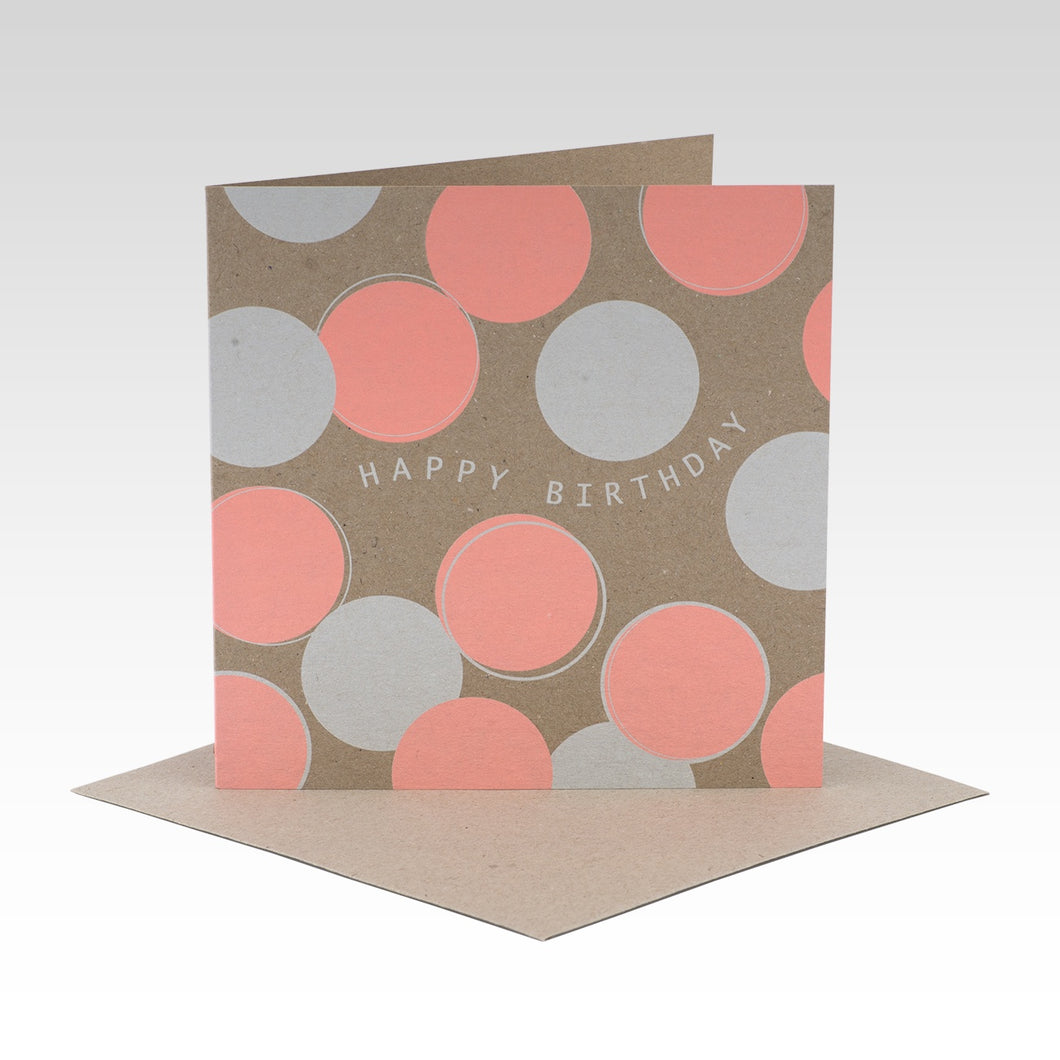 Peach Polkadot Happy Birthday - Card