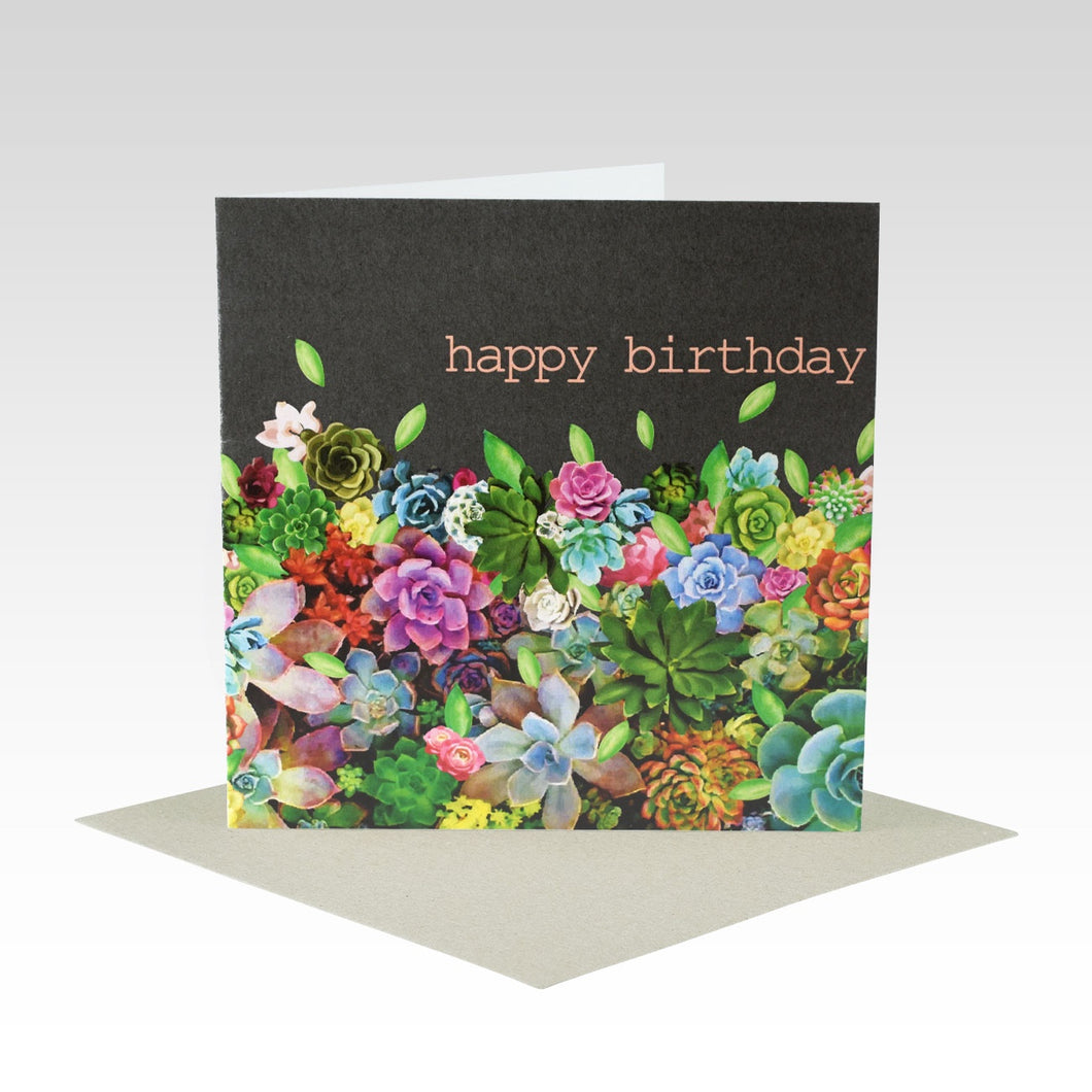 Succulent Happy Birthday - Card