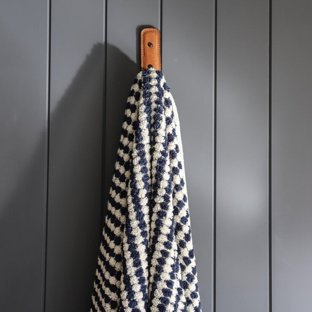 Navy Pom Pom Bath Towel