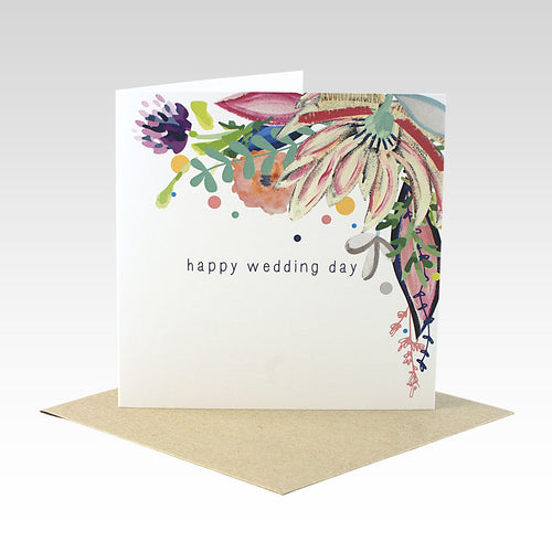 Floral Happy Wedding Day - Card