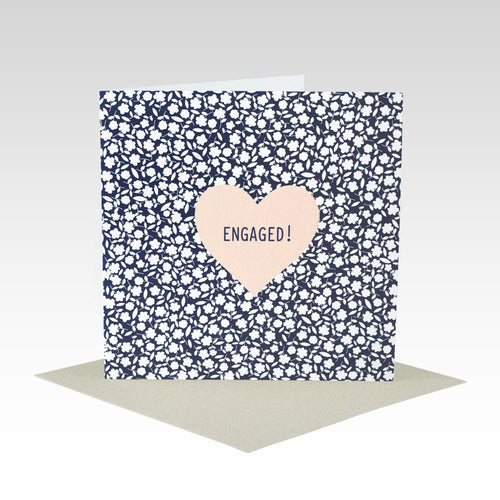Pink Heart  Engaged - Card