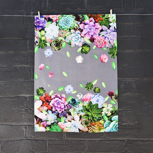 Succulent Design Tea Towel