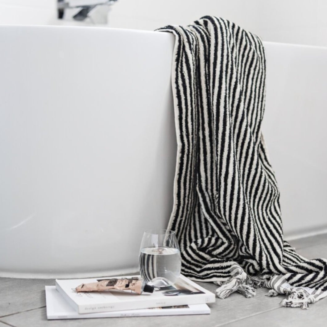 Black and White Striped Bath Towel