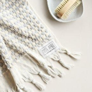 Pale Grey Pom Pom Bath Towel