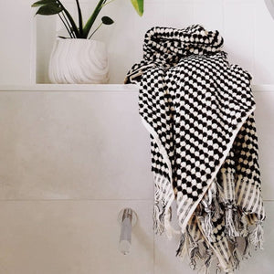 Black and White Pom Pom Bath Towel